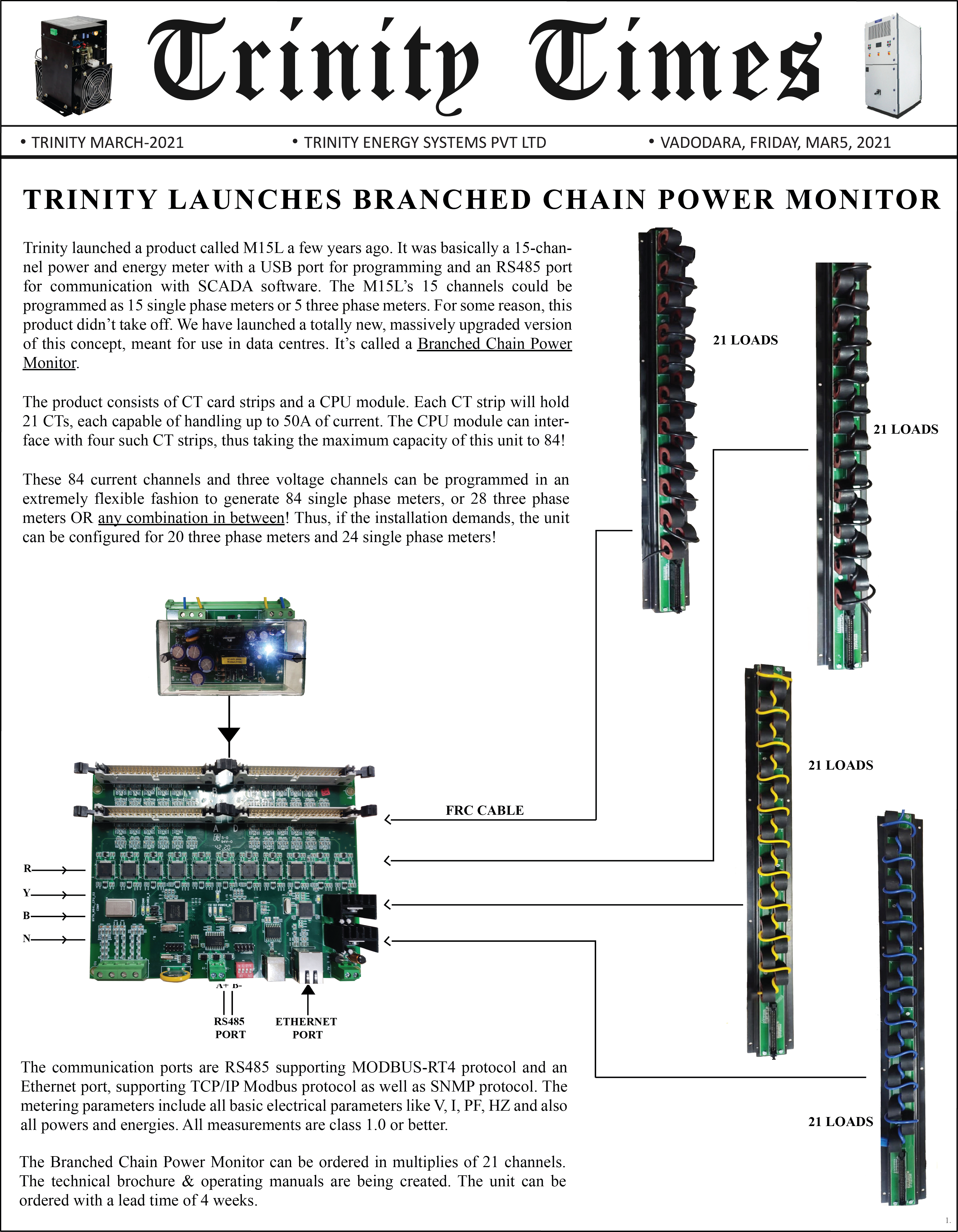 TRINITY LAUNCHES BRANCHED CHAIN POWER MONITOR